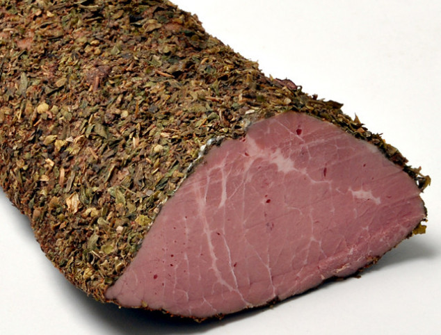 Beef pastrami, wrapped in herbs