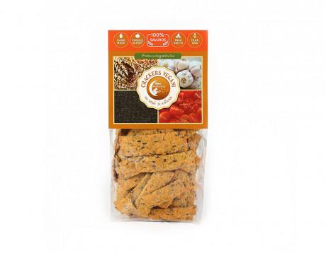 Crackers vegani cu roșii și usturoi