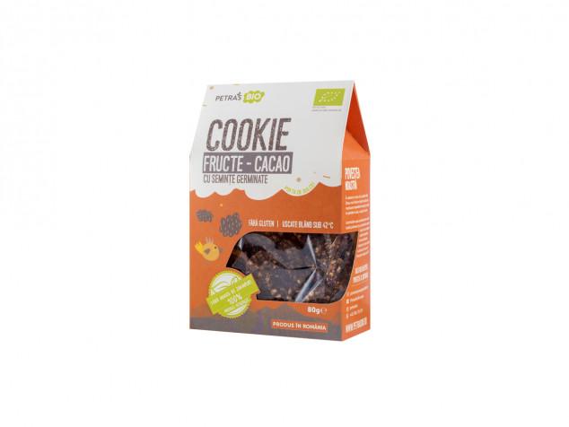 Cookie eco fructe-cacao cu semințe germinate Petras