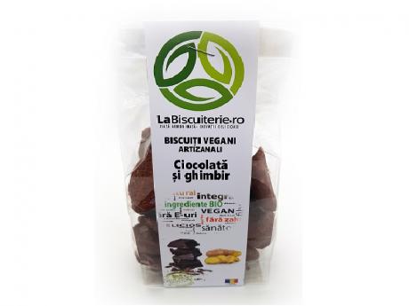 Biscuiți vegani fără zahăr cu ciocolată și ghimbir LaBiscuiterie