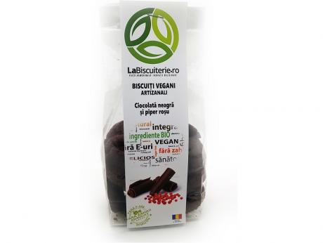 Biscuiți vegani fără zahăr cu ciocolată neagră și piper roșu LaBiscuiterie