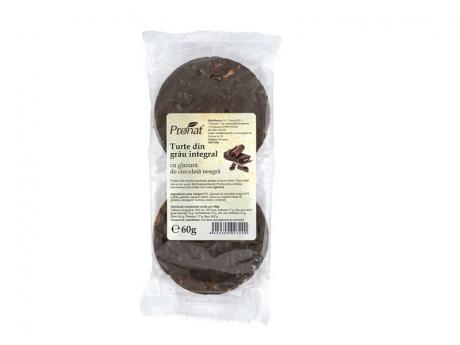 Turte din grau integral cu glazura de ciocolata neagra