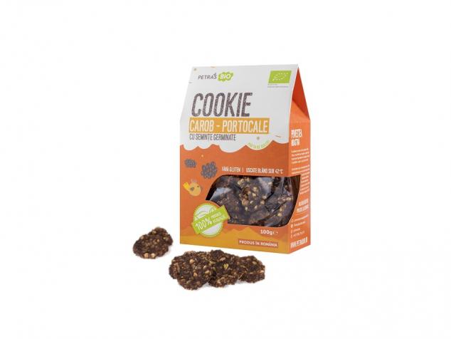 Cookie eco carob-portocale cu semințe germinate Petras